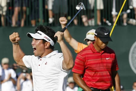 Tiger Woods, recently beaten by Korean Yang Yong-eun, was overheard muttering that he wished the Asians would just shut up and stop being such sore winners.  Independent sources were unable to verify these comments.