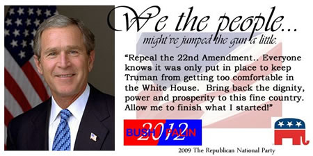 Bring Back George W. Bush. Restore our self respect and prosperity. Only YOU can make it happen!
